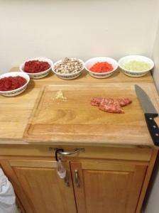 I actually prepare real food meals (lasagna prep).