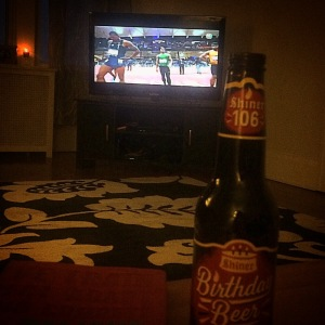 New favorite beer and Millrose Games = best Saturday night