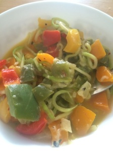 Zoodles with peppers, onions, in a white wine garlic butter sauce.