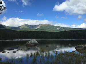 Mount Katahdin (and the pond we saw a MOOSE in!)