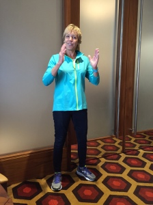 Sharon of Saucony, in the middle of her great motivational speech!