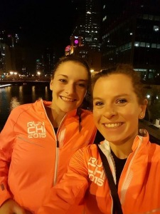 Tired faces on the night after the marathon in our Saucony jackets!